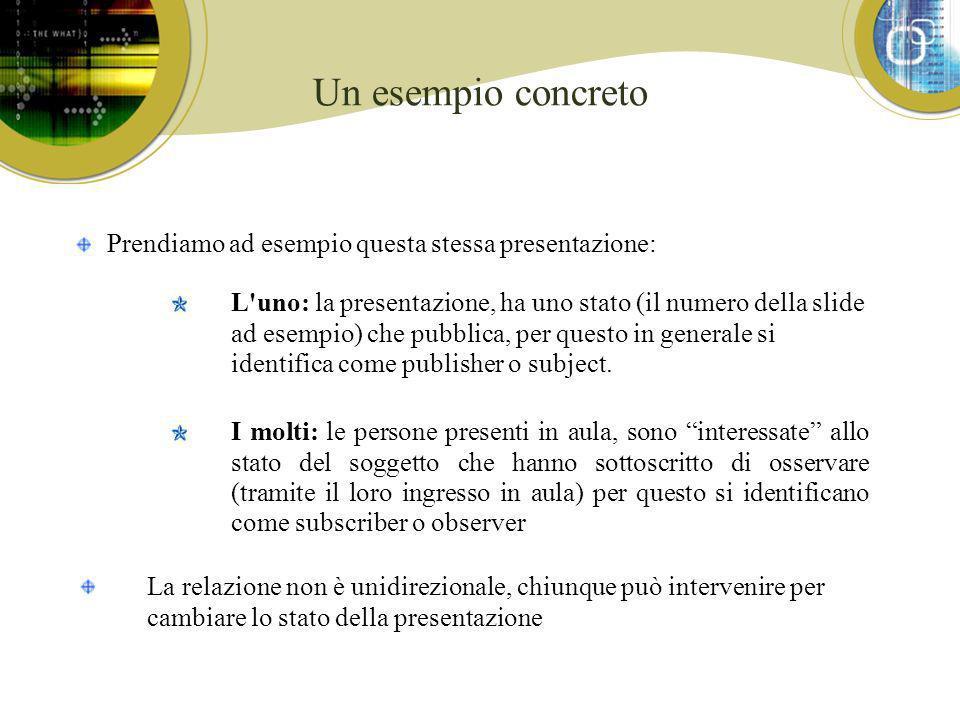Un esempio concreto Prendiamo ad esempio questa stessa presentazione: L uno: la presentazione, ha uno stato (il numero della slide ad esempio) che pubblica, per questo in generale si identifica come publisher o subject.