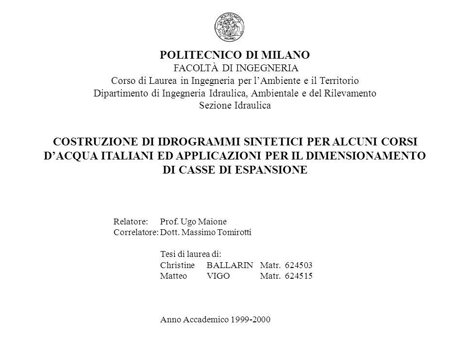 POLITECNICO DI MILANO DIPARTIMENTO DI INGEGNERIA IDRAULICA AMBIENTALE E DEL RILEVAMENTO SEZIONE IDRAULICA COSTRUZIONE DI IDROGRAMMI SINTETICI PER ALCUNI CORSI DACQUA ITALIANI ED APPLICAZIONI PER IL DIMENSIONAMENTO DI CASSE DI ESPANSIONE 2)COSTRUZIONE DELLIDROGRAMMA SINTETICO Valore del colmo è fornito dalla curva di riduzione dei colmi di piena Q 0 (T) Ciascun intervallo temporale attorno al picco viene scomposto in due parti: una di ampiezza r D· D prima del colmo e laltra di ampiezza (1-r D )D dopo il colmo Il volume di piena Q D (T)D da distribuire attorno al picco nellintervallo temporale D viene dedotto dalla curva di riduzione dei colmi e viene suddiviso nelle due porzioni: r D Q D (T)Dnellintervallo (-r D D,0) (1-r D )Q D (T)Dnellintervallo (0,(1-r D )D) quindi valgono le seguenti relazioni: Lespressione dellidrogramma sintetico Q(t) si ottiene differenziando tali equazioni rispetto a D.
