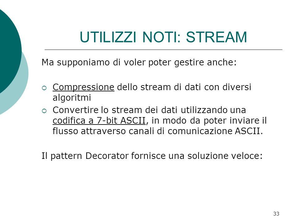 UTILIZZI NOTI: STREAM Ma supponiamo di voler poter gestire anche: Compressione dello stream di dati con diversi algoritmi Convertire lo stream dei dat