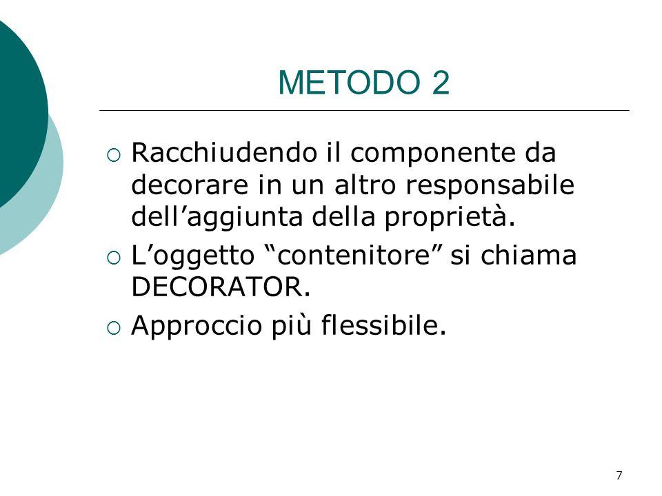 METODO 2 Racchiudendo il componente da decorare in un altro responsabile dellaggiunta della proprietà. Loggetto contenitore si chiama DECORATOR. Appro
