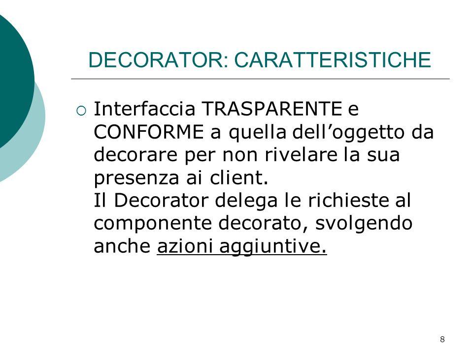 DECORATOR: CARATTERISTICHE Interfaccia TRASPARENTE e CONFORME a quella delloggetto da decorare per non rivelare la sua presenza ai client. Il Decorato