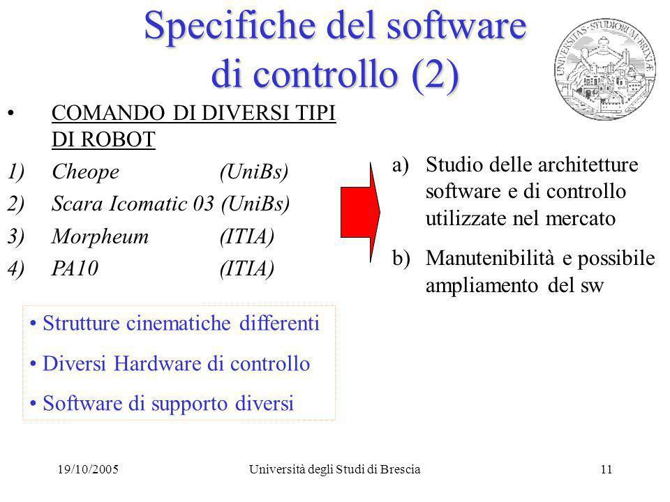 19/10/2005Università degli Studi di Brescia11 Strutture cinematiche differenti Diversi Hardware di controllo Software di supporto diversi COMANDO DI DIVERSI TIPI DI ROBOT 1)Cheope (UniBs) 2)Scara Icomatic 03 (UniBs) 3)Morpheum (ITIA) 4)PA10 (ITIA) a)Studio delle architetture software e di controllo utilizzate nel mercato b)Manutenibilità e possibile ampliamento del sw Specifiche del software di controllo (2)