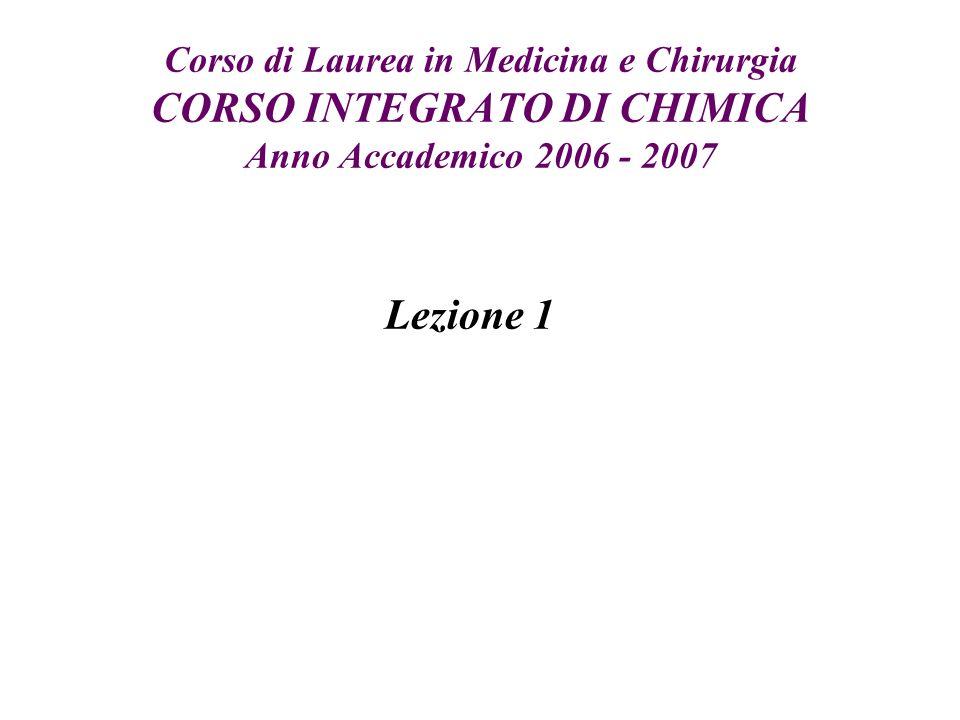 Corso di Laurea in Medicina e Chirurgia CORSO INTEGRATO DI CHIMICA Anno Accademico 2006 - 2007 Lezione 1