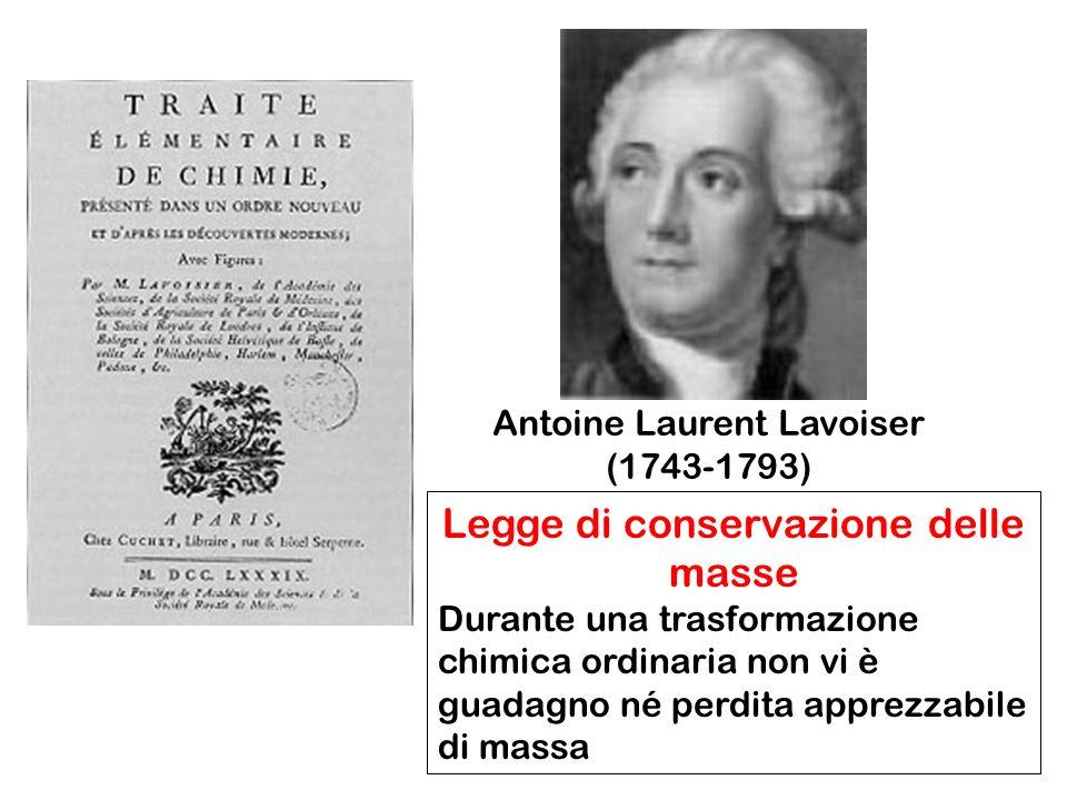 Legge di conservazione delle masse Durante una trasformazione chimica ordinaria non vi è guadagno né perdita apprezzabile di massa Antoine Laurent Lavoiser (1743-1793)