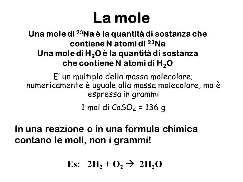 Una mole di 23 Na è la quantità di sostanza che contiene N atomi di 23 Na Una mole di H 2 O è la quantità di sostanza che contiene N atomi di H 2 O La mole In una reazione o in una formula chimica contano le moli, non i grammi.