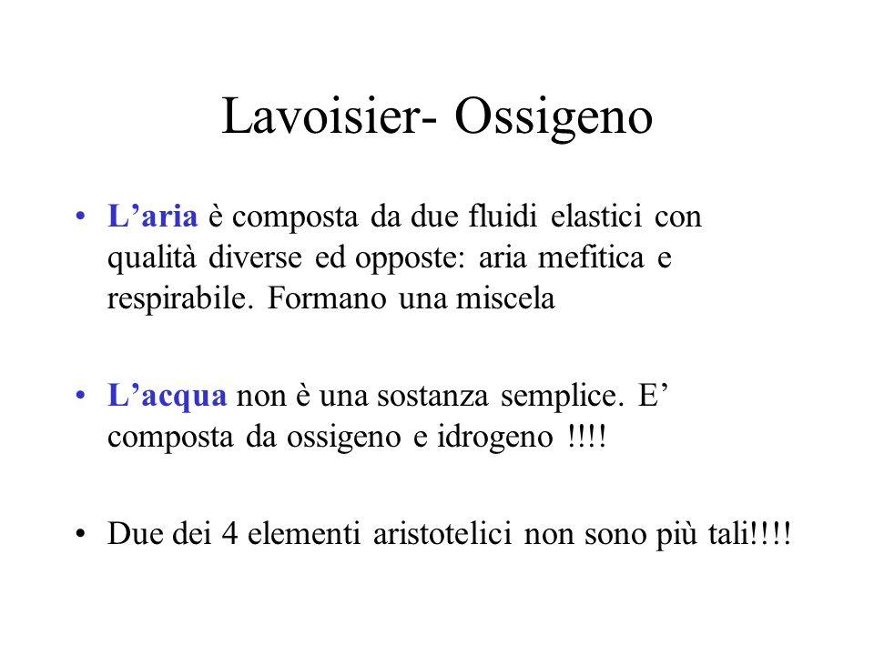 Lavoisier- Ossigeno Laria è composta da due fluidi elastici con qualità diverse ed opposte: aria mefitica e respirabile.