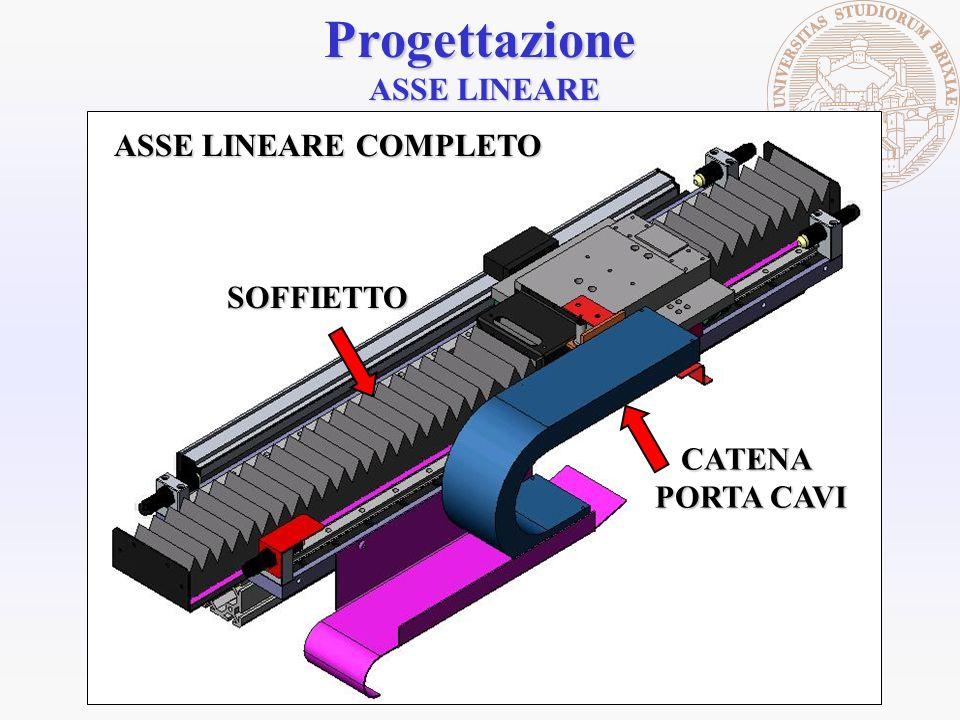Progettazione ASSE LINEARE CATENA PORTA CAVI ASSE LINEARE COMPLETO SOFFIETTO