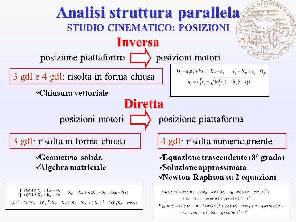 STUDIO CINEMATICO: POSIZIONI Analisi struttura parallela 3 gdl: risolta in forma chiusa Geometria solida Algebra matriciale 4 gdl: risolta numericamen