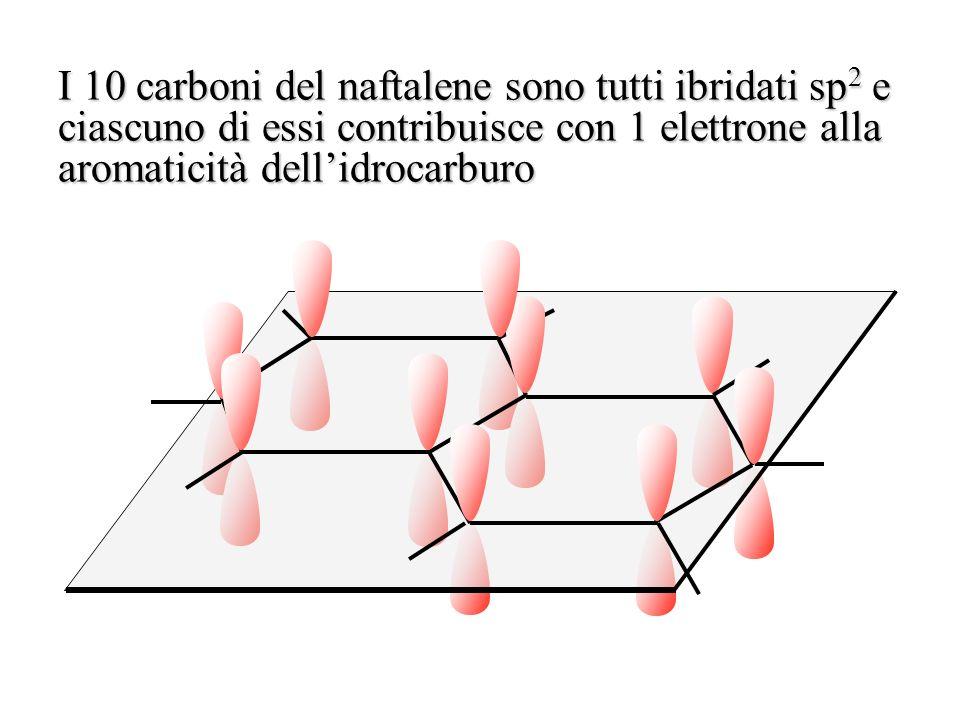 I 10 carboni del naftalene sono tutti ibridati sp 2 e ciascuno di essi contribuisce con 1 elettrone alla aromaticità dellidrocarburo