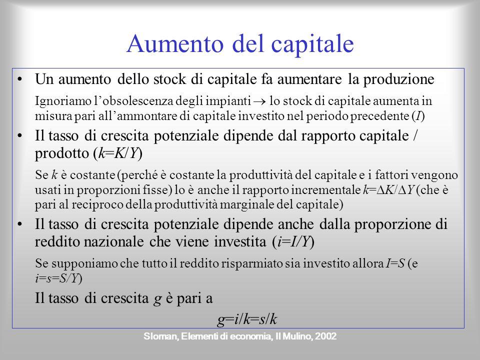 Sloman, Elementi di economia, Il Mulino, 2002 Aumento delle risorse Capitale Lavoro Terra e altre materie prime
