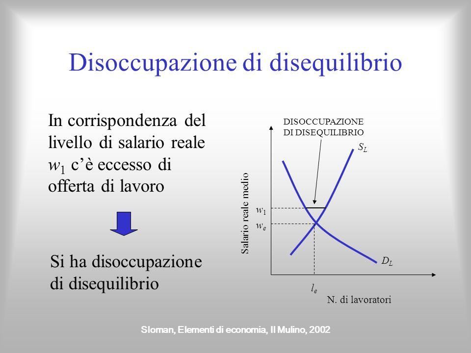 Sloman, Elementi di economia, Il Mulino, 2002 Il mercato del lavoro Offerta di lavoro (S L ) è costituita dal numero di lavoratori disposti ad accetta