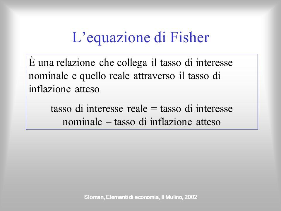 Sloman, Elementi di economia, Il Mulino, 2002 Tasso di interesse nominale e reale Il tasso di interesse nominale è il tasso di interesse in termini mo