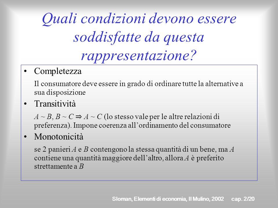 Sloman, Elementi di economia, Il Mulino, 2002cap. 2/19 Come si rappresentano le preferenze del consumatore? Una volta identificati i panieri allintern