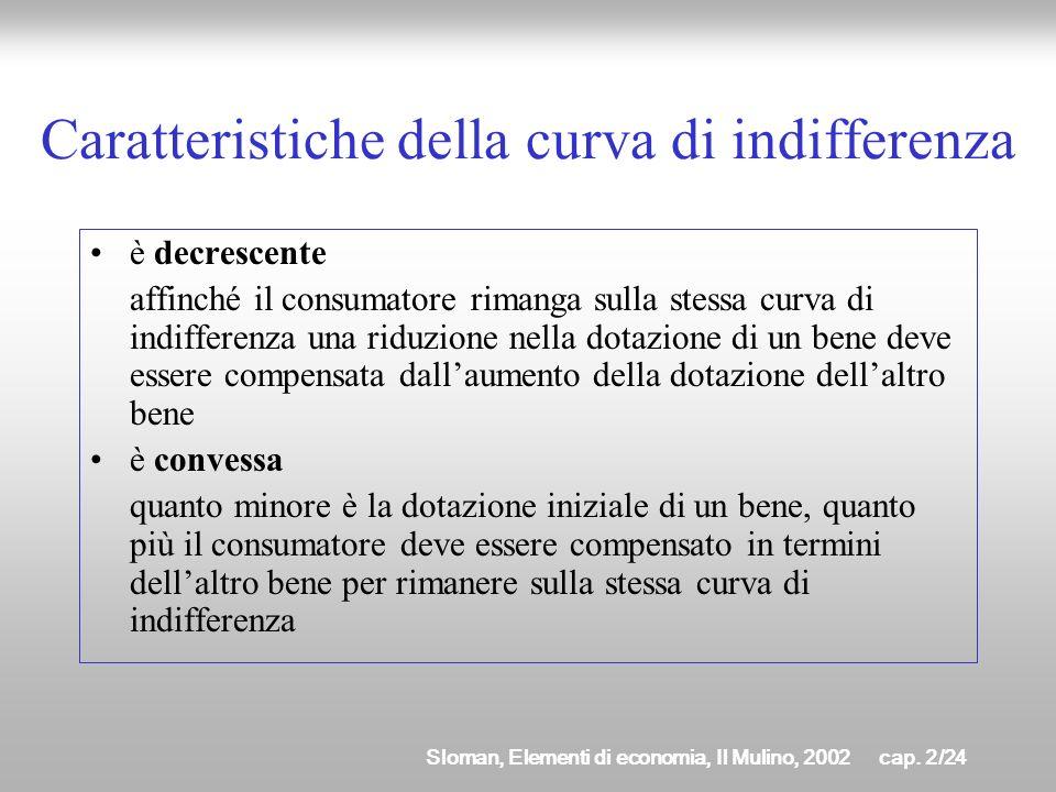 Sloman, Elementi di economia, Il Mulino, 2002cap. 2/23 Caratteristiche della curva di indifferenza Non è possibile che due curve di indifferenza si in