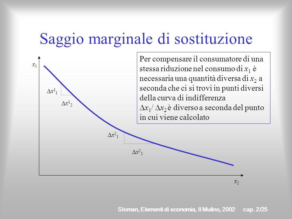 Sloman, Elementi di economia, Il Mulino, 2002cap. 2/24 Caratteristiche della curva di indifferenza è decrescente affinché il consumatore rimanga sulla