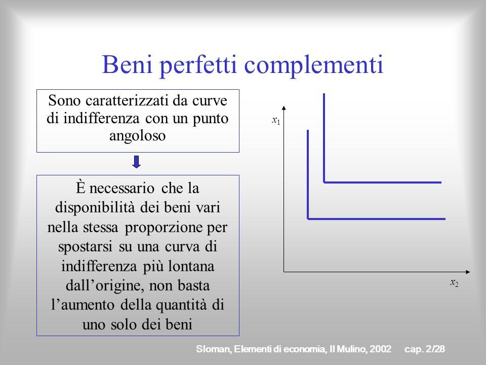 Sloman, Elementi di economia, Il Mulino, 2002cap. 2/27 Beni perfetti sostituti Sono caratterizzati da curve di indifferenza rettilinee Il SMS è costan