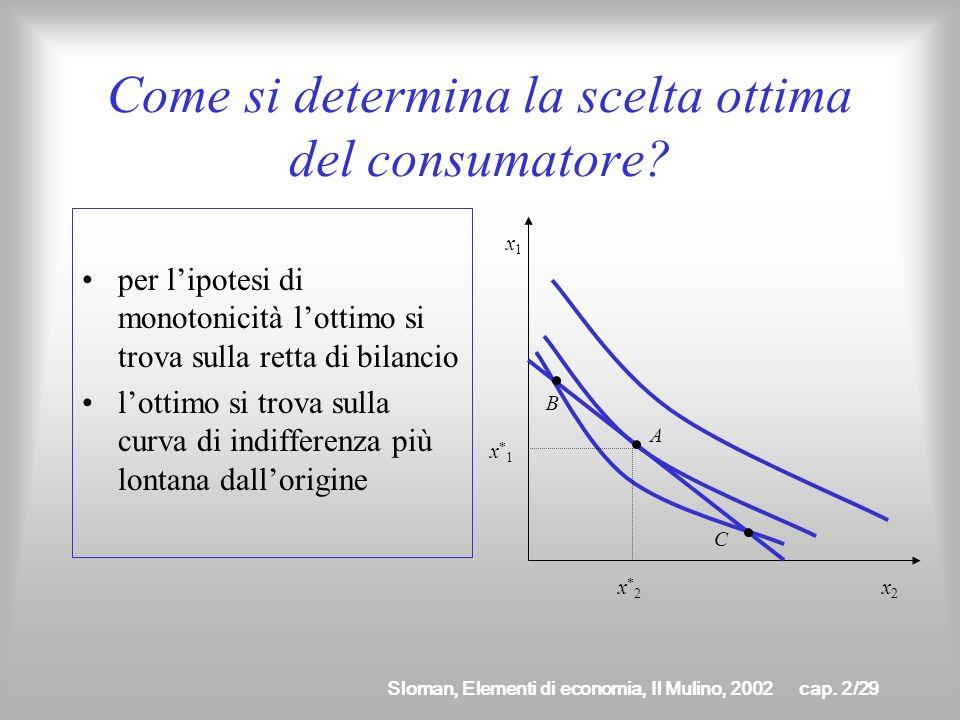 Sloman, Elementi di economia, Il Mulino, 2002cap. 2/28 Beni perfetti complementi Sono caratterizzati da curve di indifferenza con un punto angoloso È
