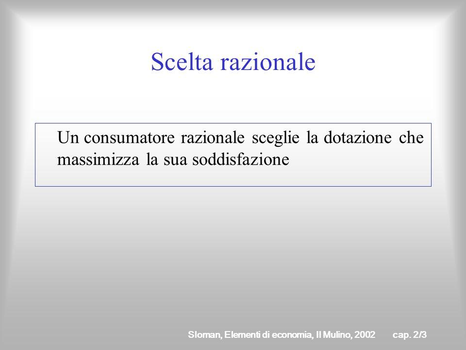 Sloman, Elementi di economia, Il Mulino, 2002cap. 2/2 Come è descritto in microeconomia il problema di scelta del consumatore? Secondo lottica consequ