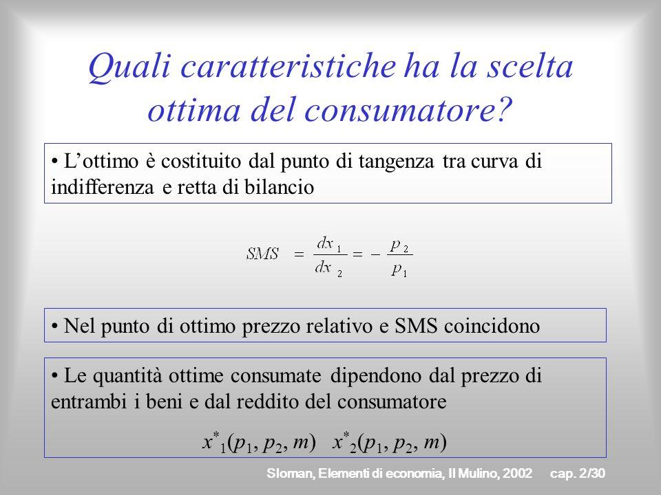 Sloman, Elementi di economia, Il Mulino, 2002cap. 2/29 Come si determina la scelta ottima del consumatore? per lipotesi di monotonicità lottimo si tro
