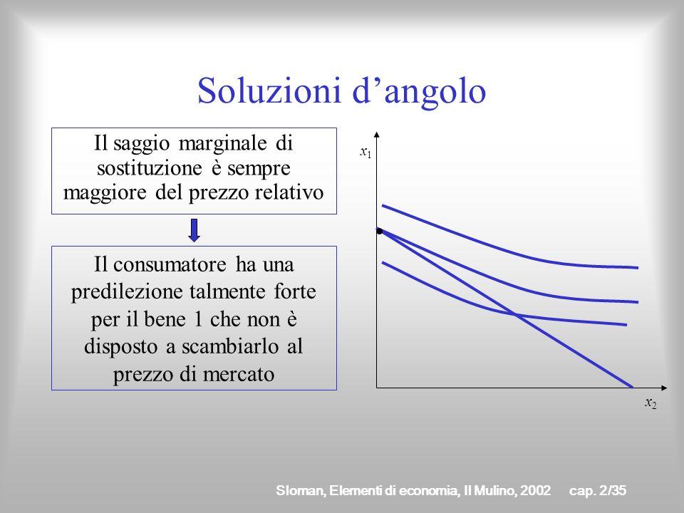 Sloman, Elementi di economia, Il Mulino, 2002cap. 2/34 Soluzioni dangolo La condizione di ottimo non è soddisfatta in tre casi particolari