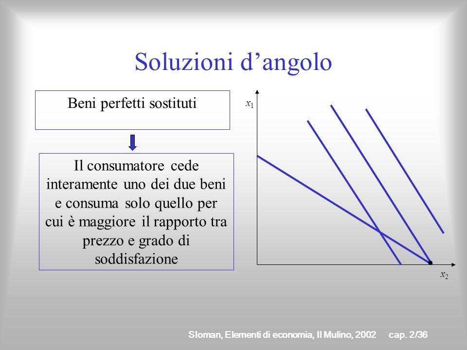 Sloman, Elementi di economia, Il Mulino, 2002cap. 2/35 Soluzioni dangolo Il saggio marginale di sostituzione è sempre maggiore del prezzo relativo Il