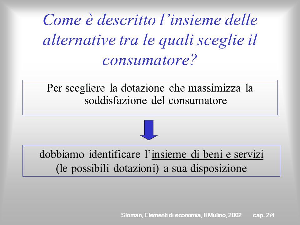 Sloman, Elementi di economia, Il Mulino, 2002cap. 2/3 Scelta razionale Un consumatore razionale sceglie la dotazione che massimizza la sua soddisfazio