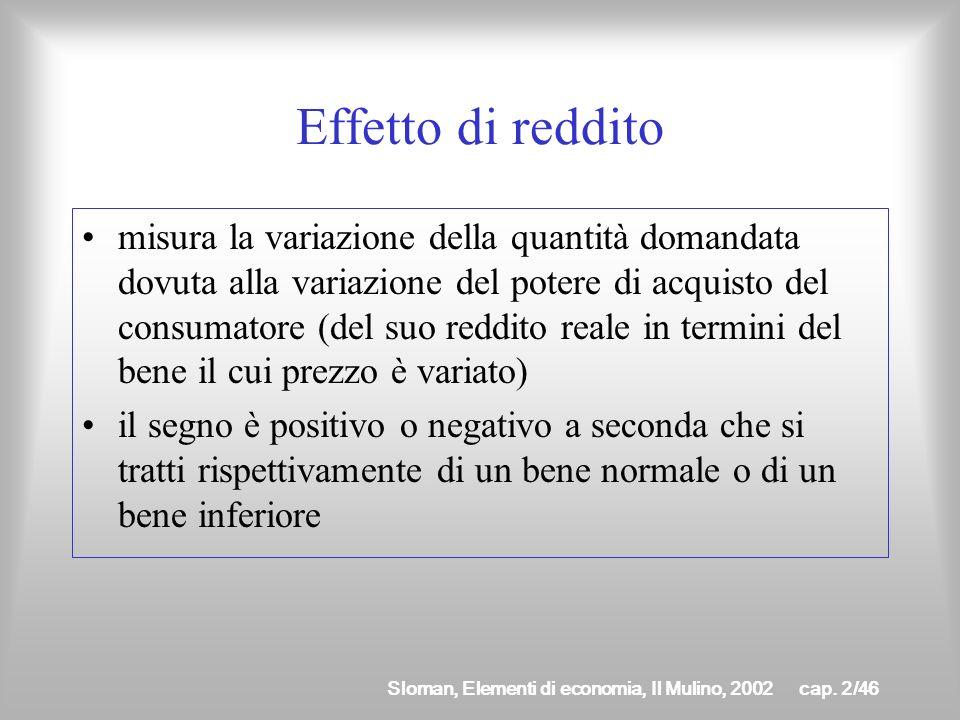 Sloman, Elementi di economia, Il Mulino, 2002cap. 2/45 Effetto di sostituzione misura la variazione della quantità domandata dovuta al fatto che ora i