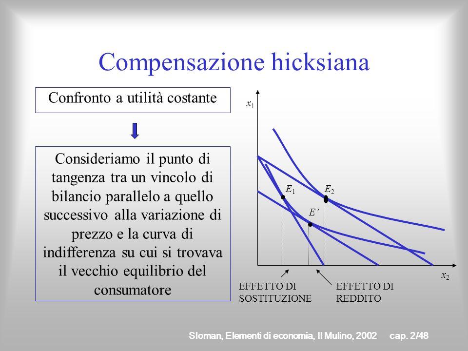 Sloman, Elementi di economia, Il Mulino, 2002cap. 2/47 Per isolare leffetto dovuto alla sola variazione di prezzo (leffetto sostituzione) seguiamo due
