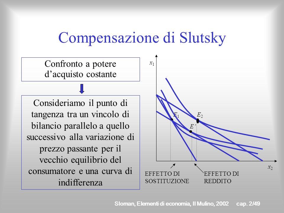 Sloman, Elementi di economia, Il Mulino, 2002cap. 2/48 Compensazione hicksiana Confronto a utilità costante Consideriamo il punto di tangenza tra un v