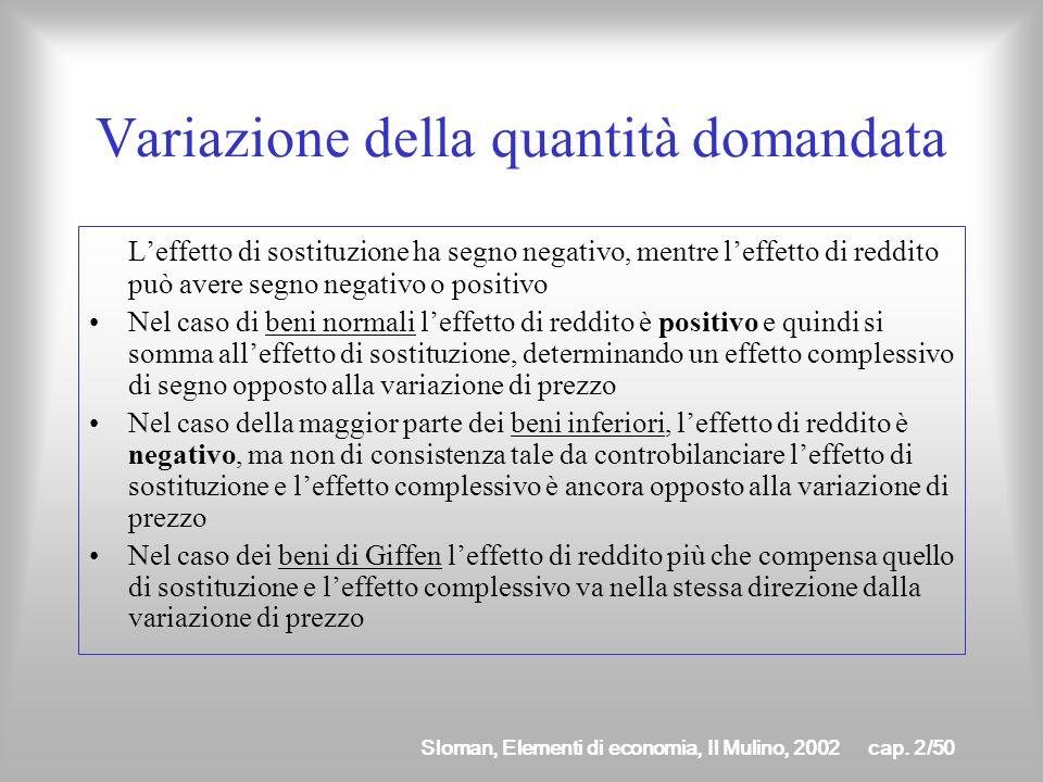 Sloman, Elementi di economia, Il Mulino, 2002cap. 2/49 Compensazione di Slutsky Confronto a potere dacquisto costante Consideriamo il punto di tangenz