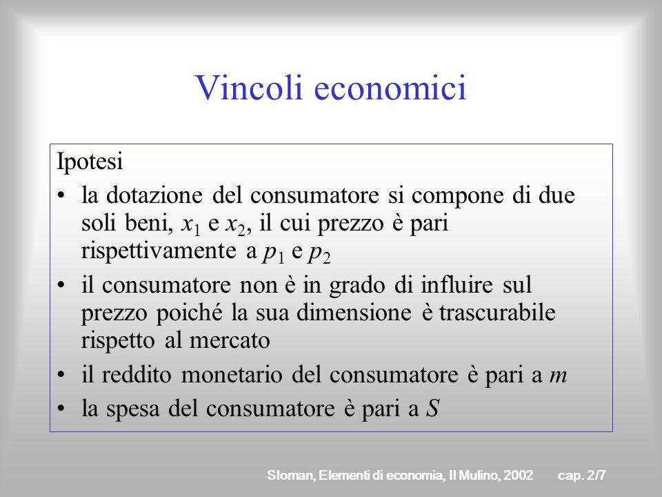 Sloman, Elementi di economia, Il Mulino, 2002cap. 2/6 Il consumatore sceglie tra diversi panieri che sono finiti nel numero nelle componenti Linsieme