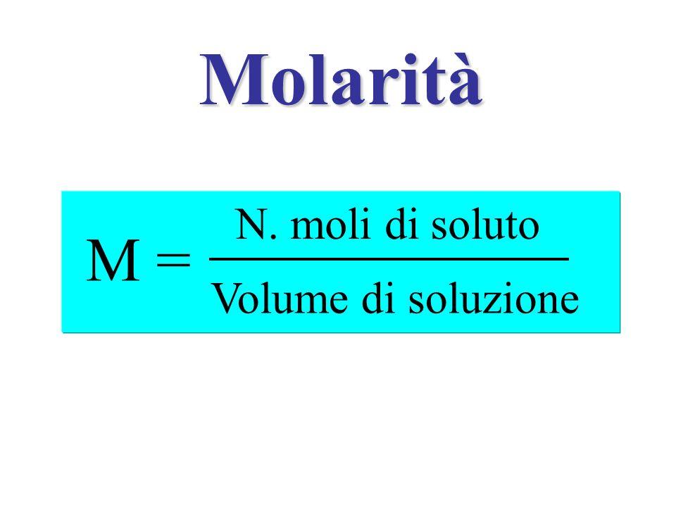 Molarità M = N. moli di soluto Volume di soluzione