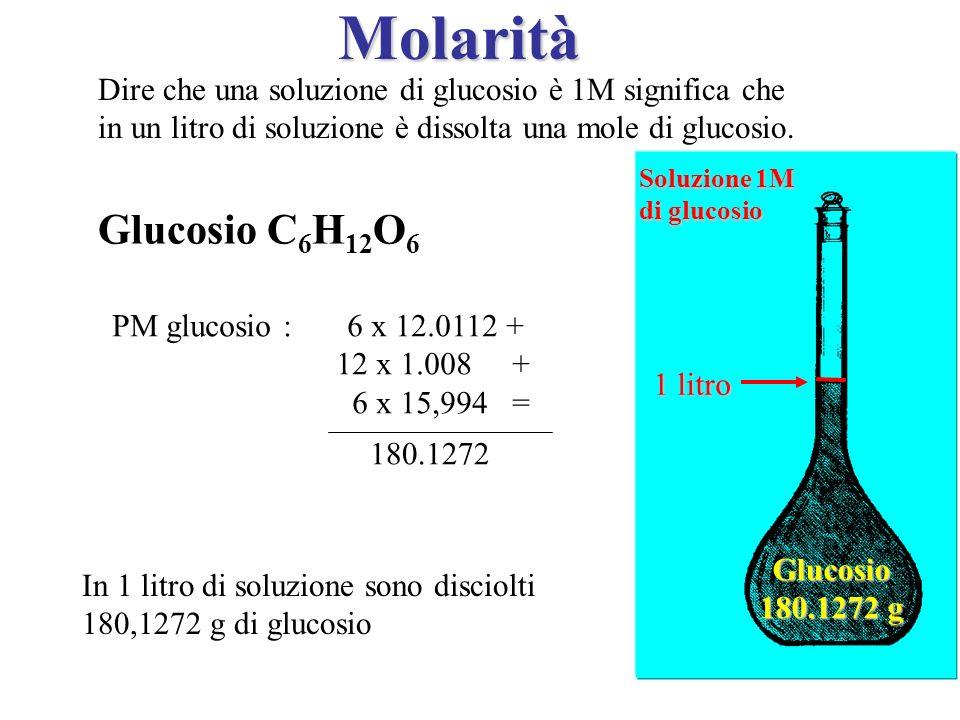 Dire che una soluzione di glucosio è 1M significa che in un litro di soluzione è dissolta una mole di glucosio. Glucosio C 6 H 12 O 6 PM glucosio : 6