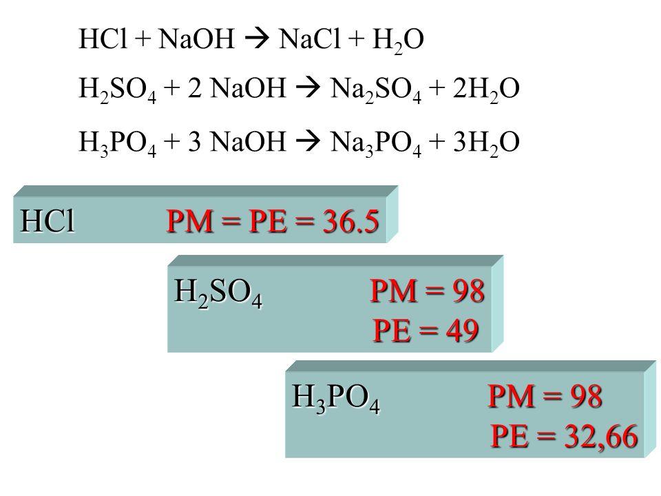 HCl + NaOH NaCl + H 2 O H 2 SO 4 + 2 NaOH Na 2 SO 4 + 2H 2 O H 3 PO 4 + 3 NaOH Na 3 PO 4 + 3H 2 O H 2 SO 4 PM = 98 PE = 49 PE = 49 H 3 PO 4 PM = 98 PE