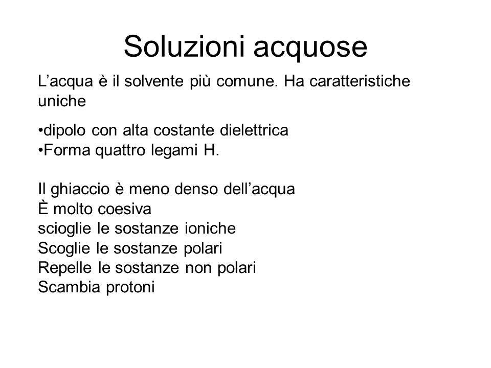 Soluzioni acquose Lacqua è il solvente più comune. Ha caratteristiche uniche dipolo con alta costante dielettrica Forma quattro legami H. Il ghiaccio