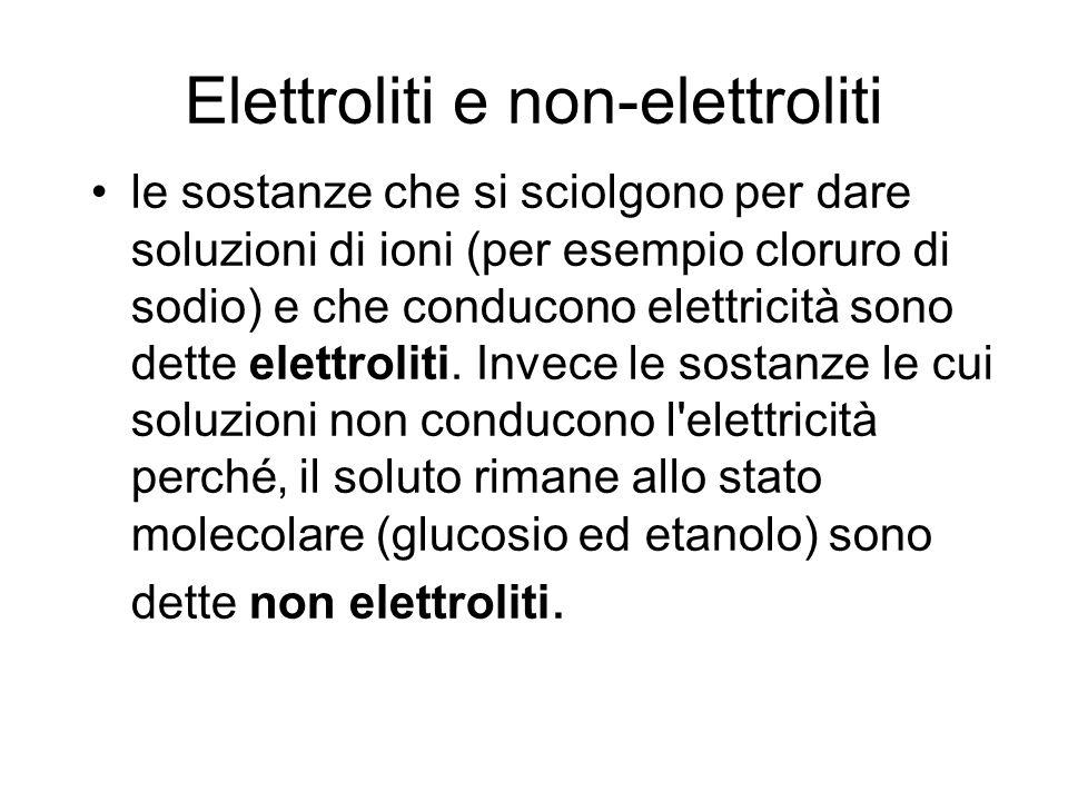 Elettroliti e non-elettroliti le sostanze che si sciolgono per dare soluzioni di ioni (per esempio cloruro di sodio) e che conducono elettricità sono