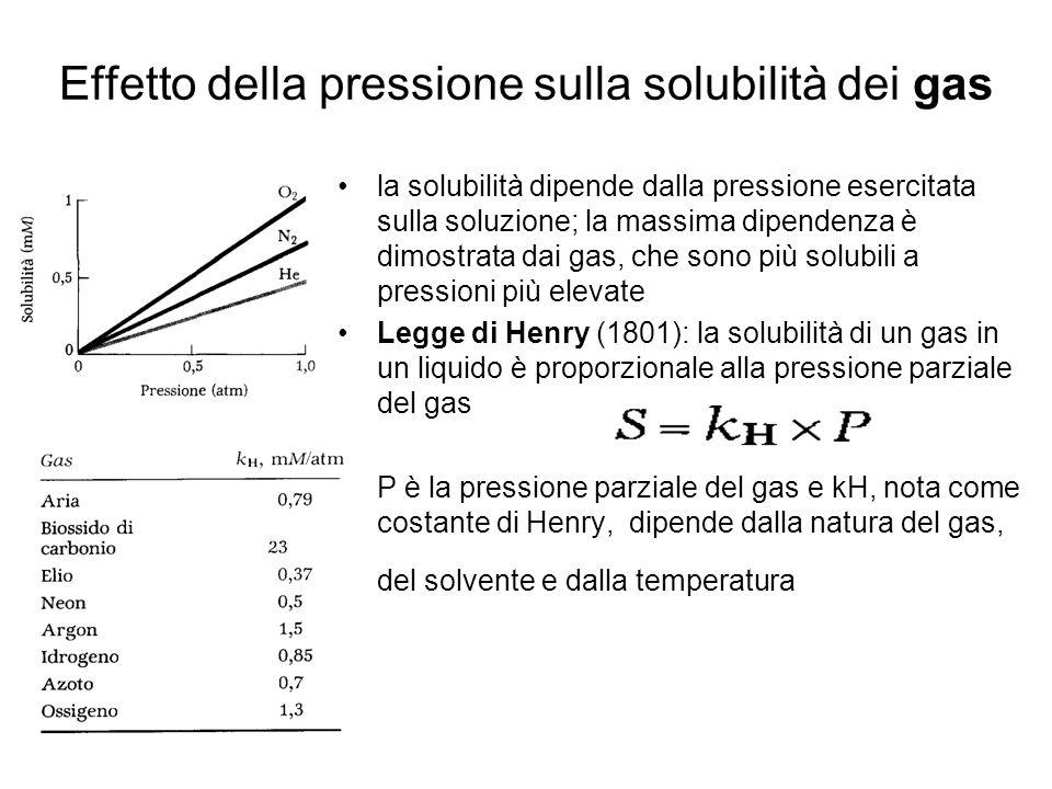 Effetto della pressione sulla solubilità dei gas la solubilità dipende dalla pressione esercitata sulla soluzione; la massima dipendenza è dimostrata