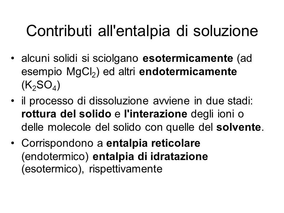 Contributi all'entalpia di soluzione alcuni solidi si sciolgano esotermicamente (ad esempio MgCl 2 ) ed altri endotermicamente (K 2 SO 4 ) il processo