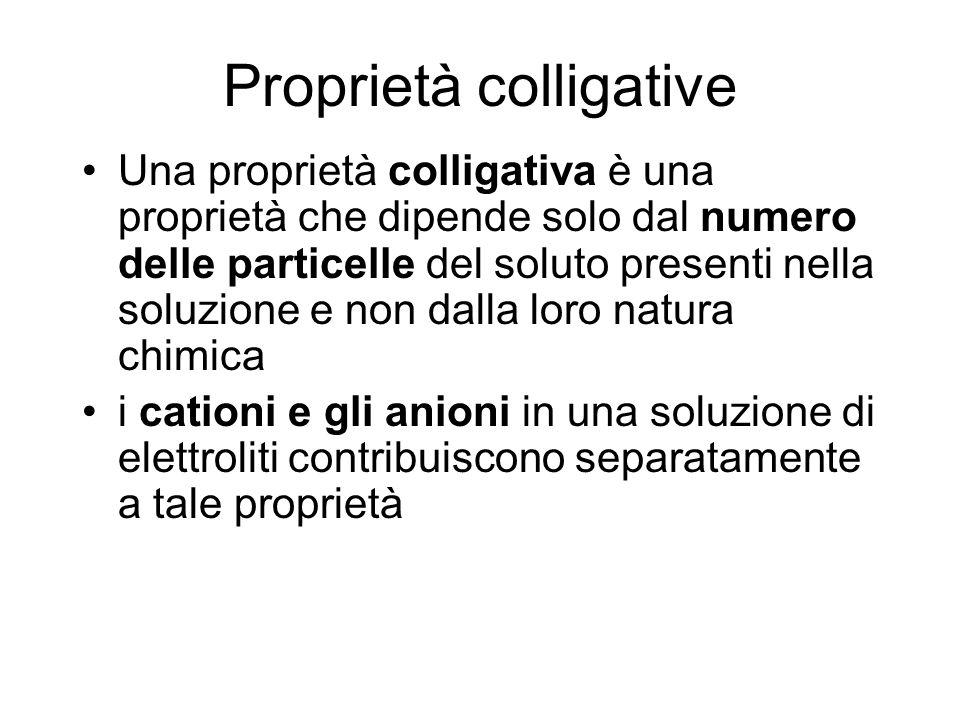 Proprietà colligative Una proprietà colligativa è una proprietà che dipende solo dal numero delle particelle del soluto presenti nella soluzione e non