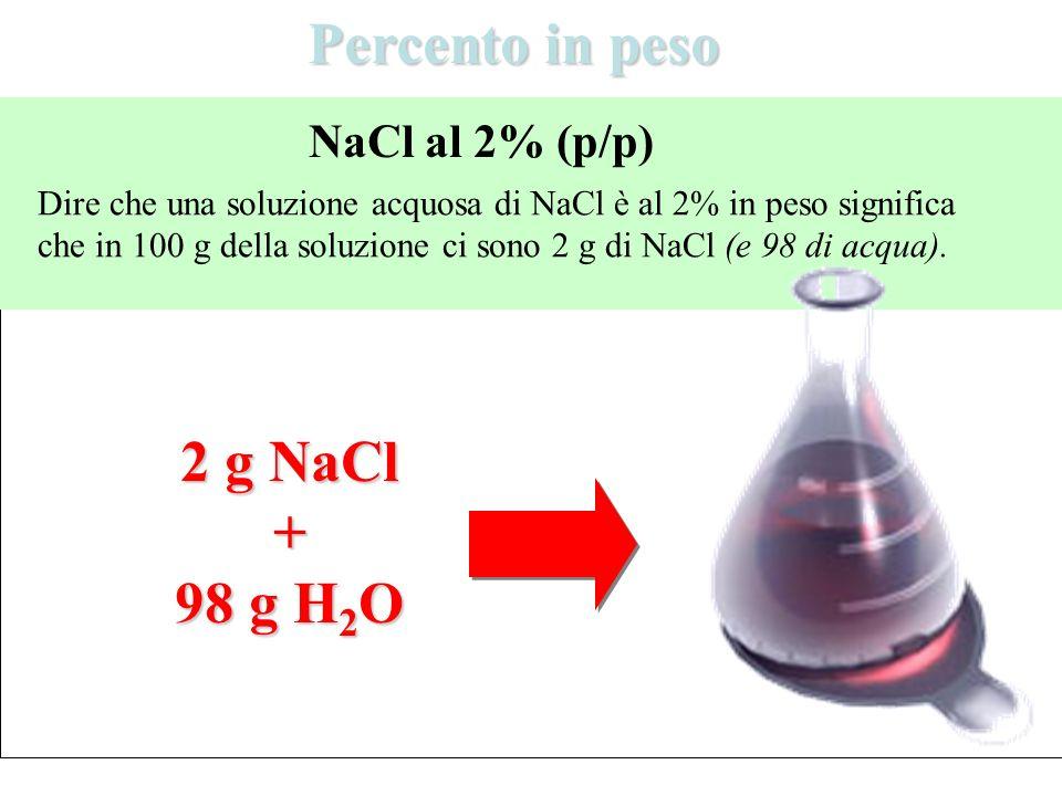 Percento in peso Dire che una soluzione acquosa di NaCl è al 2% in peso significa che in 100 g della soluzione ci sono 2 g di NaCl (e 98 di acqua). Na
