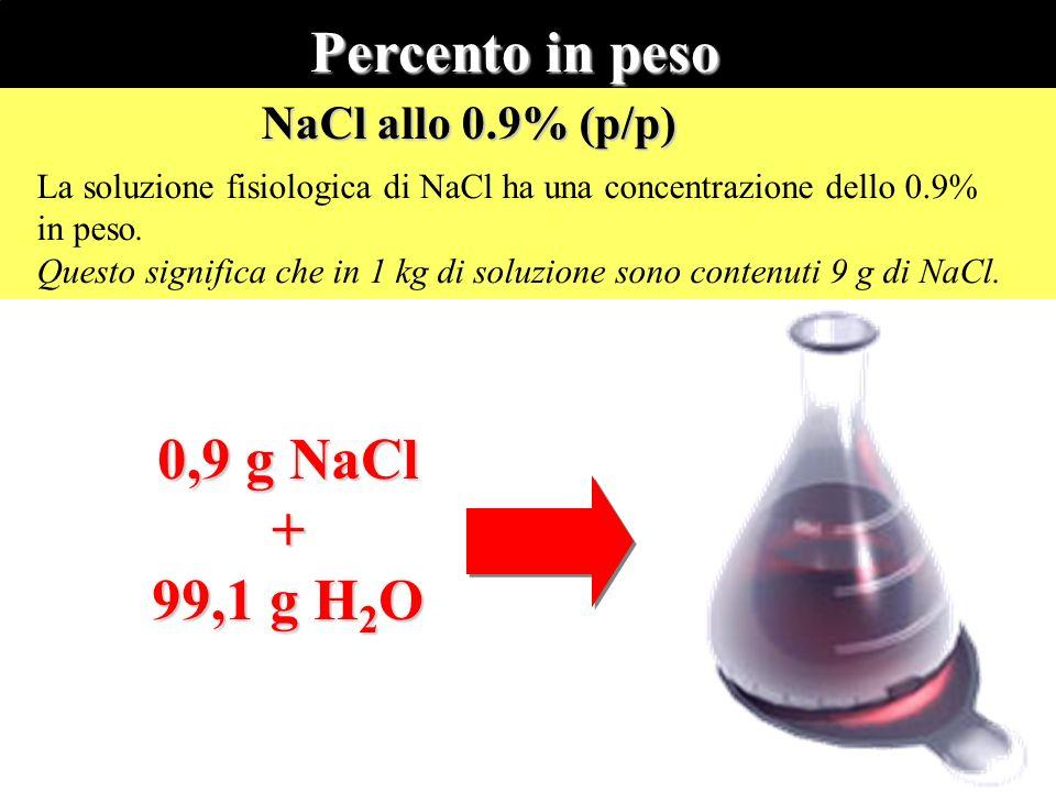 La soluzione fisiologica di NaCl ha una concentrazione dello 0.9% in peso. Questo significa che in 1 kg di soluzione sono contenuti 9 g di NaCl. NaCl