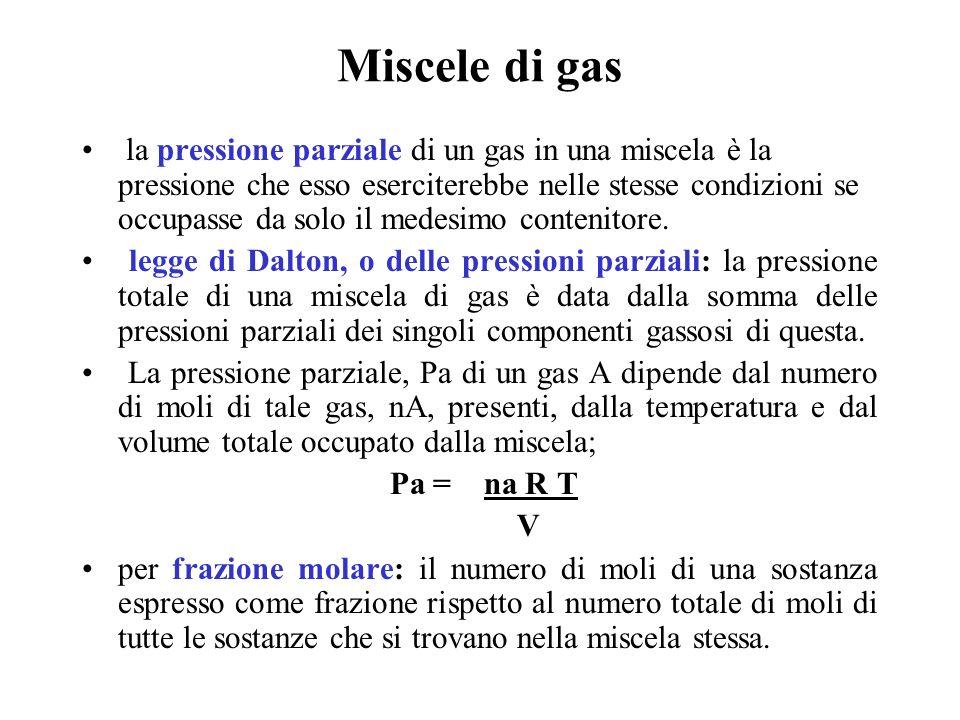 Miscele di gas la pressione parziale di un gas in una miscela è la pressione che esso eserciterebbe nelle stesse condizioni se occupasse da solo il me