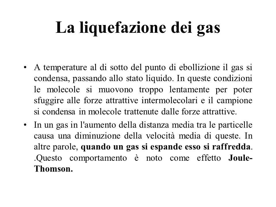 La liquefazione dei gas A temperature al di sotto del punto di ebollizione il gas si condensa, passando allo stato liquido. In queste condizioni le mo