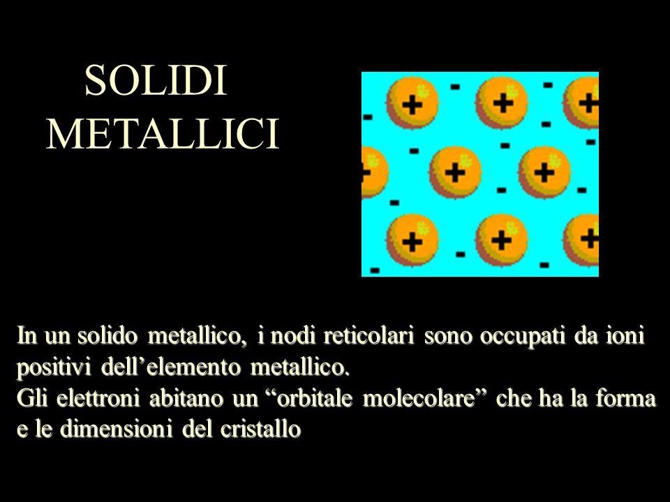 In un solido metallico, i nodi reticolari sono occupati da ioni positivi dellelemento metallico. Gli elettroni abitano un orbitale molecolare che ha l