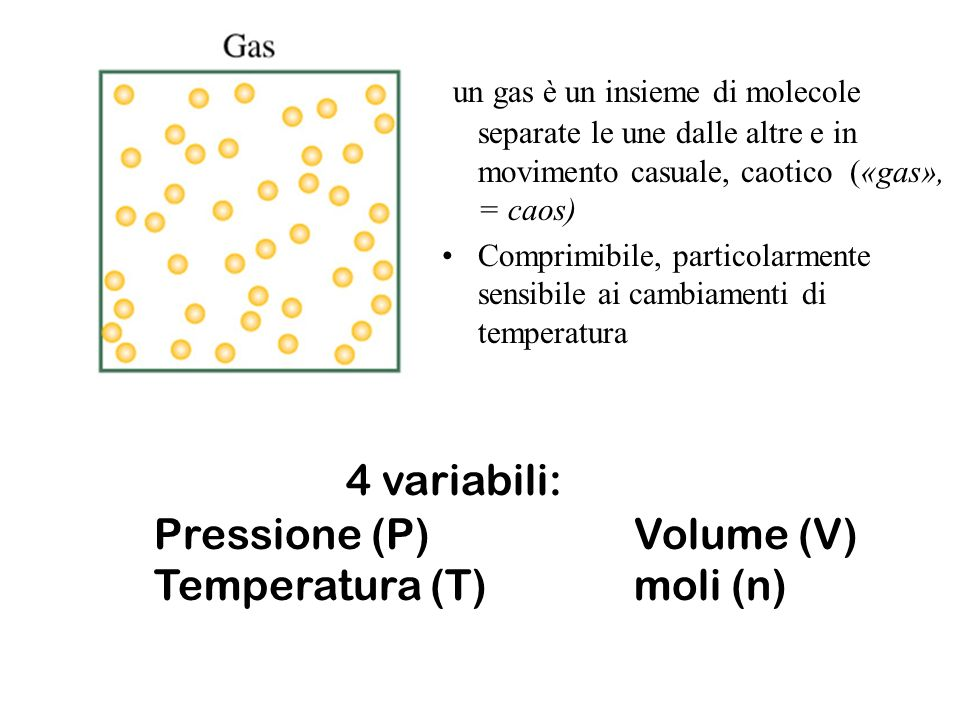 Pressione pressione P la forza esercitata per unità di superficie: P= forza / superficie La pressione esercitata da un gas è il risultato complessivo delle collisioni delle molecole del gas sulla superficie dell oggetto Misura della pressione 760 mm di mercurio (760 mm Hg) è il valore della pressione atmosferica.
