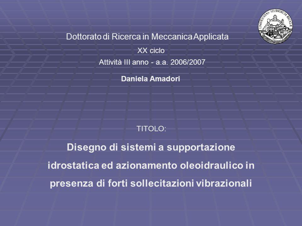 Dottorato di Ricerca in Meccanica Applicata XX ciclo Attività III anno - a.a. 2006/2007 Disegno di sistemi a supportazione idrostatica ed azionamento