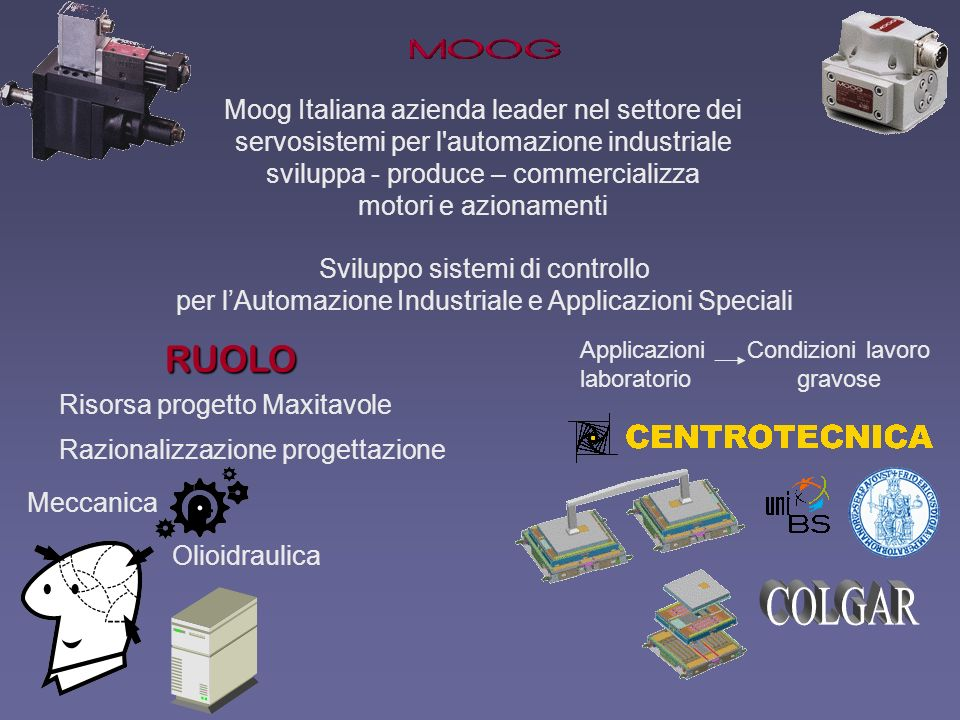 Olioidraulica Meccanica RUOLO Moog Italiana azienda leader nel settore dei servosistemi per l'automazione industriale sviluppa - produce – commerciali