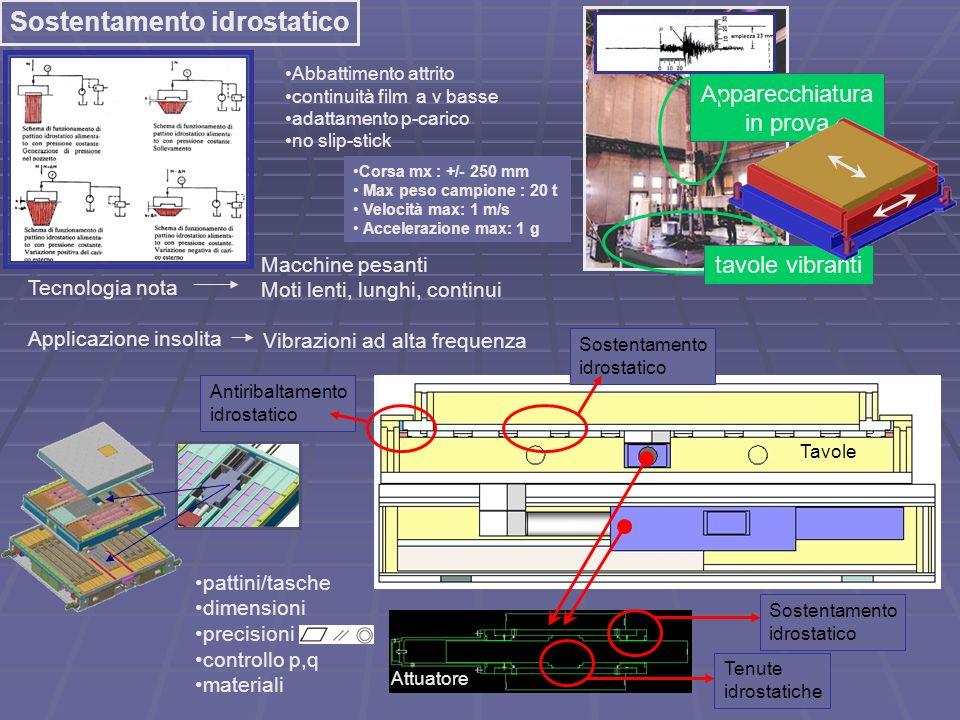 Sostentamento idrostatico Apparecchiatura in prova tavole vibranti Tecnologia nota Applicazione insolita Corsa mx : +/- 250 mm Max peso campione : 20