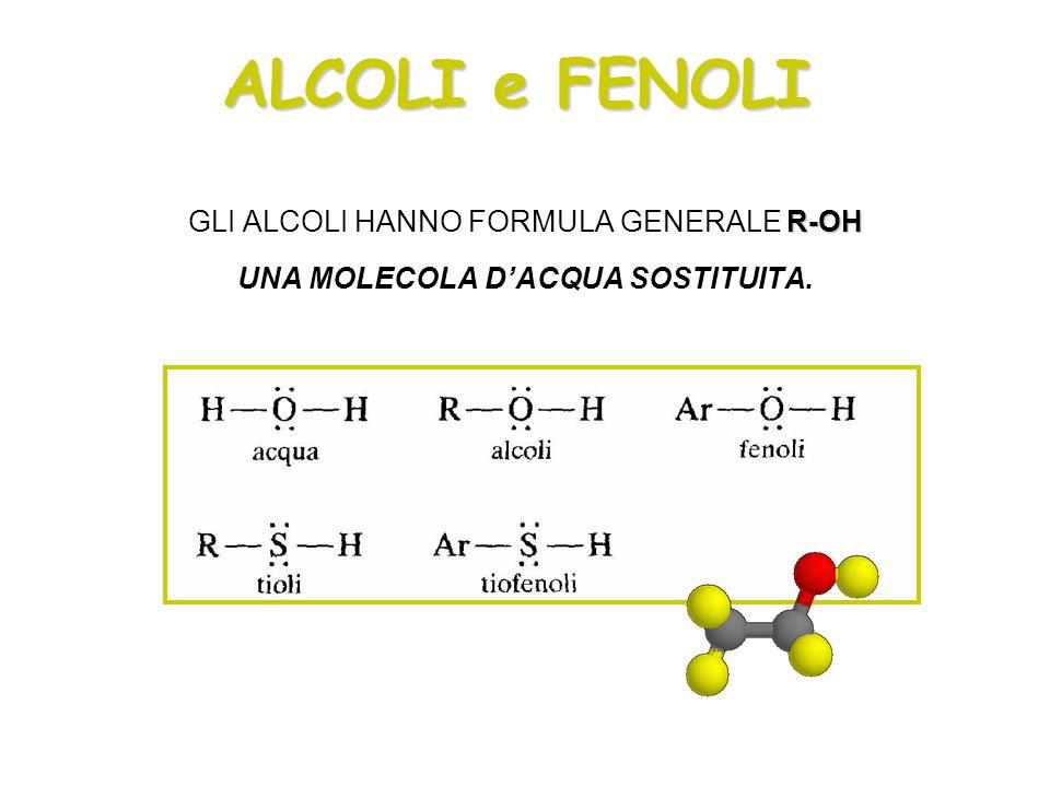 ALCOLI e FENOLI R-OH GLI ALCOLI HANNO FORMULA GENERALE R-OH UNA MOLECOLA DACQUA SOSTITUITA.