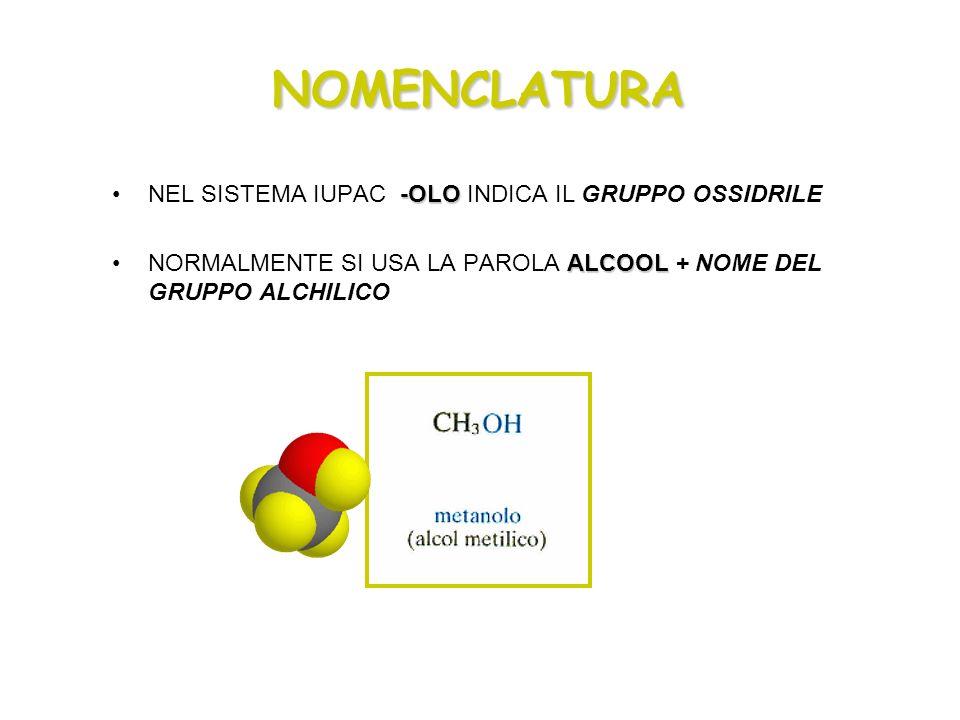 NOMENCLATURA -OLONEL SISTEMA IUPAC -OLO INDICA IL GRUPPO OSSIDRILE ALCOOLNORMALMENTE SI USA LA PAROLA ALCOOL + NOME DEL GRUPPO ALCHILICO
